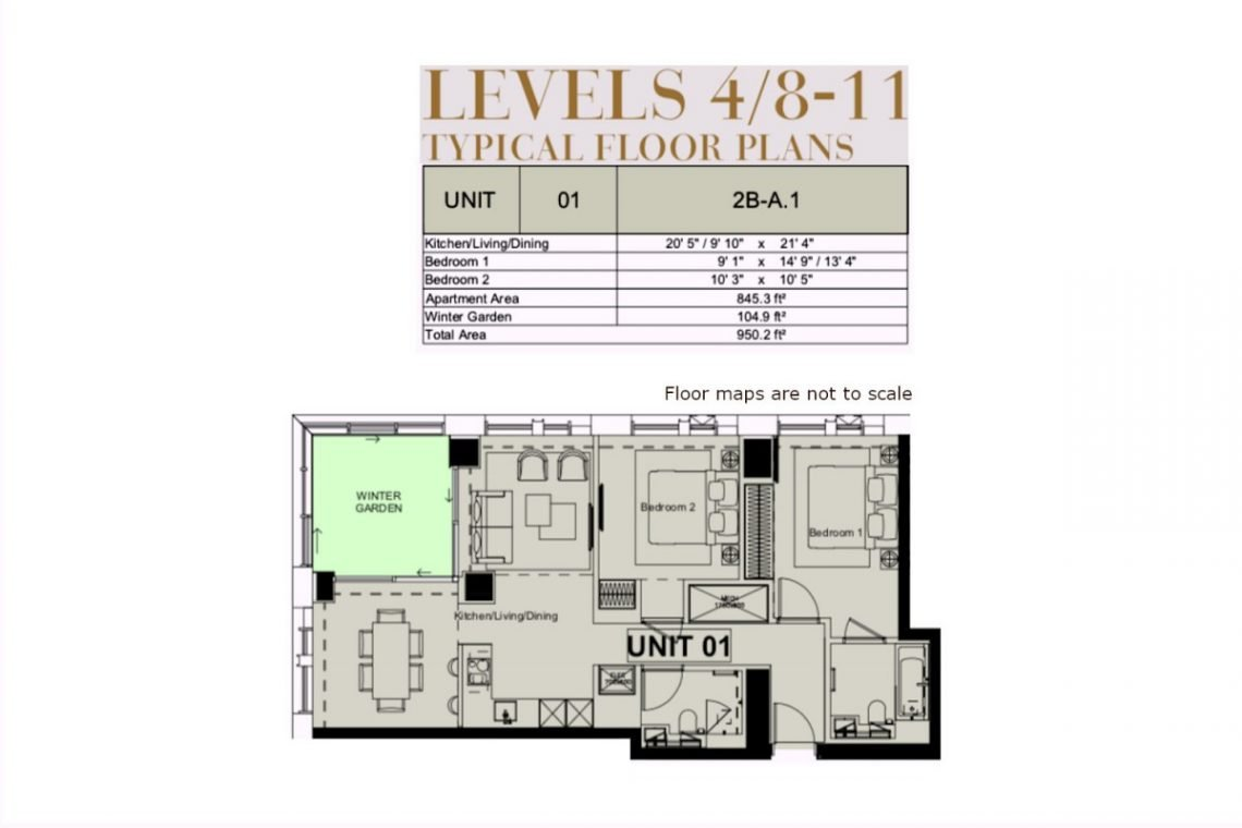 2 bed flat Nine Elms Floor Map